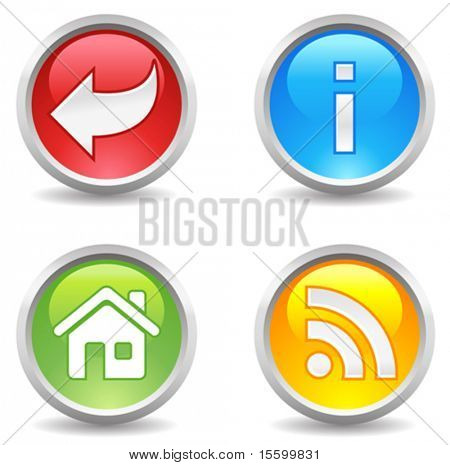 vector internet buttons - backwards, info, home, rss;