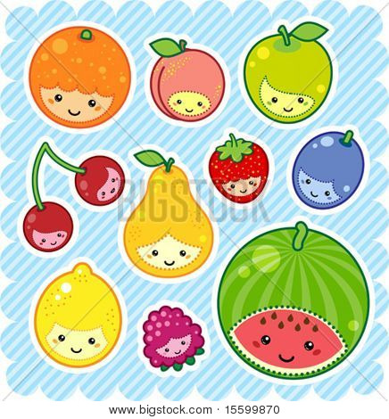vector illustration of kawaii fruits