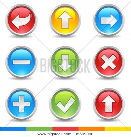 vector internet buttons: delete, eccept, add, exclude, arrows