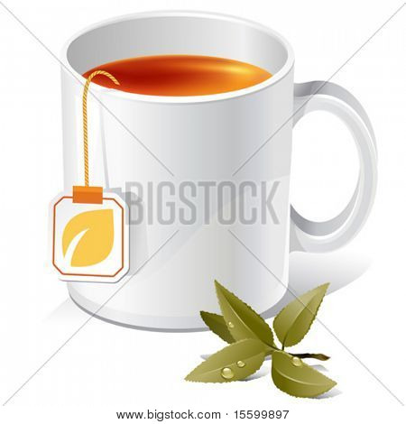 vector tea mug with teabag label and leaves. There are VARIETY of tea things in my portfolio ;) Please, take a look !
