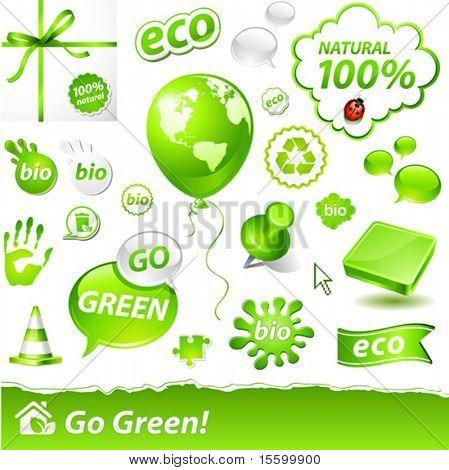 """vector set of """"go green"""" labels"""
