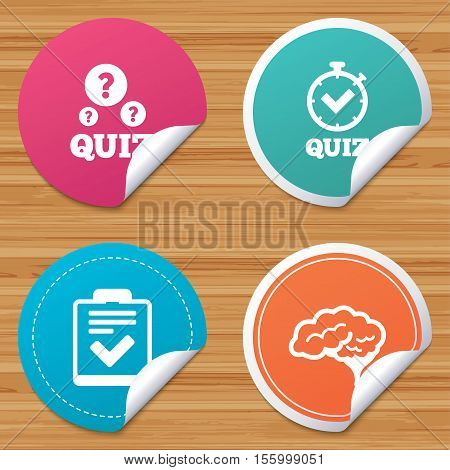 Round stickers or website banners. Quiz icons. Human brain think. Checklist and stopwatch timer symbol. Survey poll or questionnaire feedback form sign. Circle badges with bended corner. Vector
