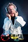 foto of mad scientist  - Scientist in white lab coat - JPG