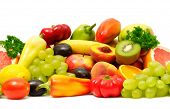 foto of fruits vegetables  - fresh fruits and vegetables isolated on a white background - JPG