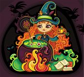 stock photo of cave woman  - Vector illustration of young funny witch is cooking something poisonous in her cauldron - JPG