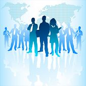 image of corps  - A large group of business people with a digital world behind them - JPG