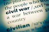 Close Up Of Old English Dictionary Page With Word Civil War poster