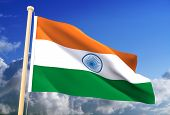 stock photo of indian flag  - High resolution 3D Indian flag  - JPG