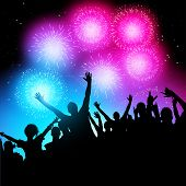 pic of firework display  - A crowd of people watching a fireworks display - JPG