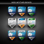 Постер, плакат: Векторные веб элементы с продажи продукта в 9 стили
