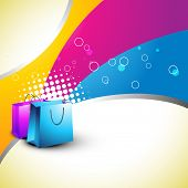 vector bags on colorful background