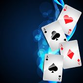 picture of playing card  - playing cards on beautiful glowing blue background - JPG
