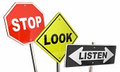 Stop Look Listen Pay Attention Road Street Signs 3d Illustration poster