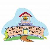 pic of school building  - illustration of school building on abstract background - JPG