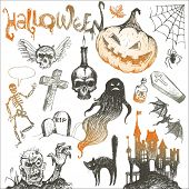 Halloween and horror hand drawn set