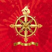 image of compass rose  - Ancient golden compass rose - JPG