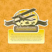 stock photo of biplane  - Vector adventure and travel emblem - JPG