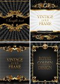 Vector set of gold & black luxury decorative ornate background