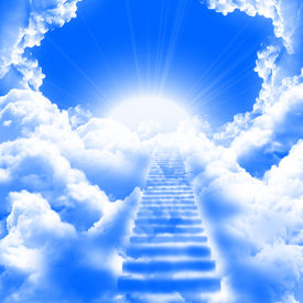 pic of step-up  - a ladder directed up to blue cloudy skies and sun - JPG