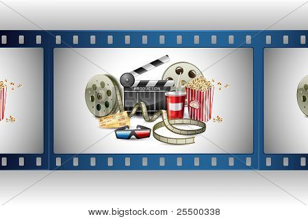 film reel with pop corn reel and clapper board