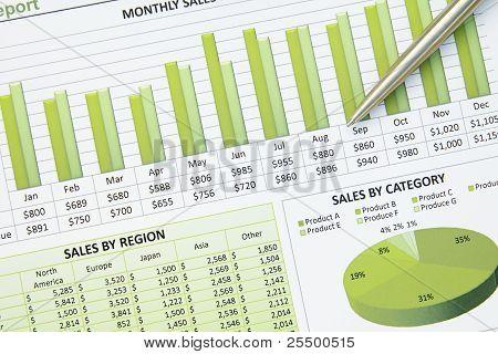 Green Business Financial Chart Graph