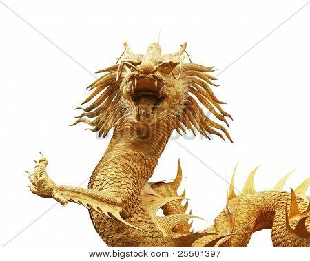 Gold Dragon Statue In Chinese Temple