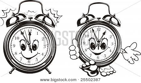two alarm clocks - black & white