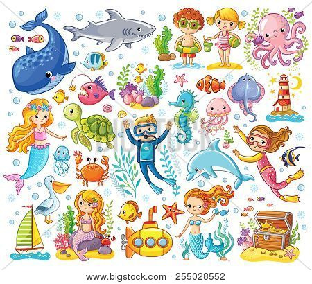 poster of Vector Set On A Sea Theme In A Children's Style.