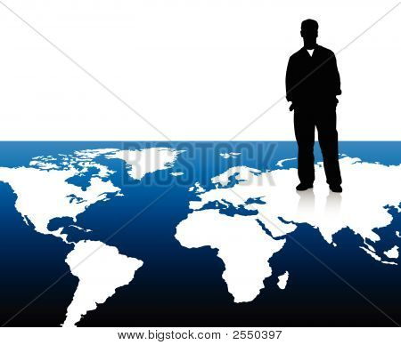 Business Man On World Map