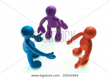 Look On Talking Plasticine Puppets On White Background