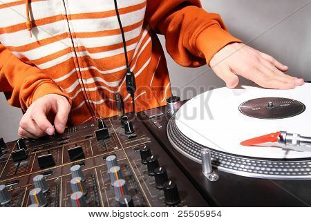 Hands Of Dj Scratching Vinyl Record