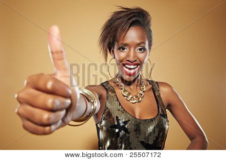African Woman Lifting Thumb Up
