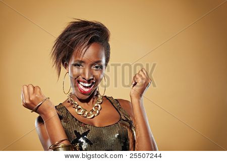 Cheering African Woman