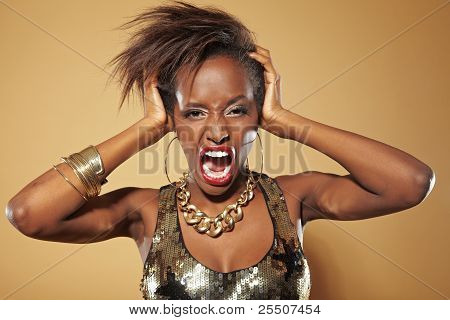 Screaming Frustrated African Woman