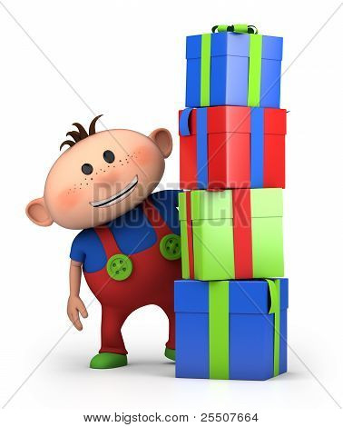 Boy Behind Pile Of Presents