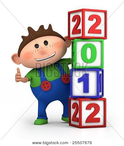 Boy With 2012 Number Blocks