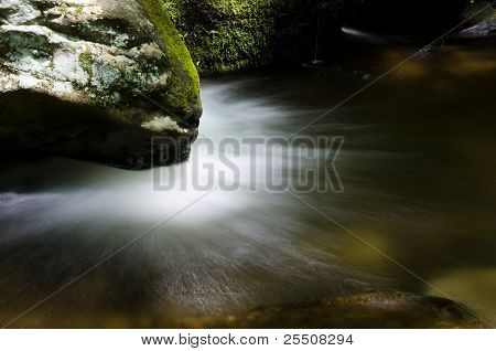 Water Gushing From Under Rock