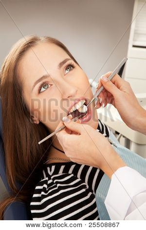 Young woman being examined by a dentist