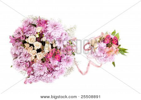 Two bouquets of flowers