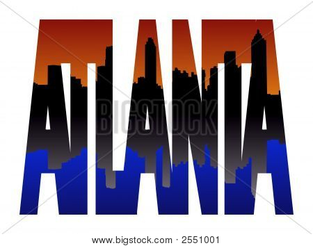 Atlanta Text With Skyline