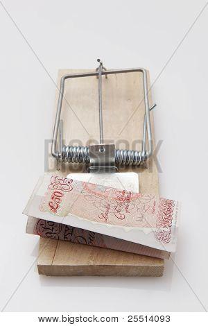 Billete de 50 libras de trampa de ratón