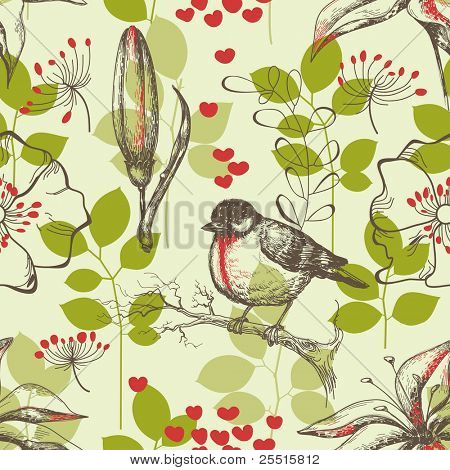 Bird and lilies seamless pattern