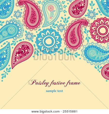 Paisley festive frame; it's a clipping mask, all shapes are entire