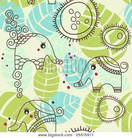 Little elephants garden; seamless pattern