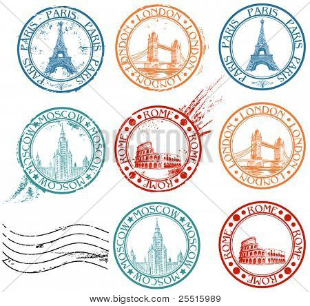 City stamps collection with symbols: Paris (Eiffel Tower), London (London Bridge), Rome (Colosseum), Moscow (Lomonosov University)