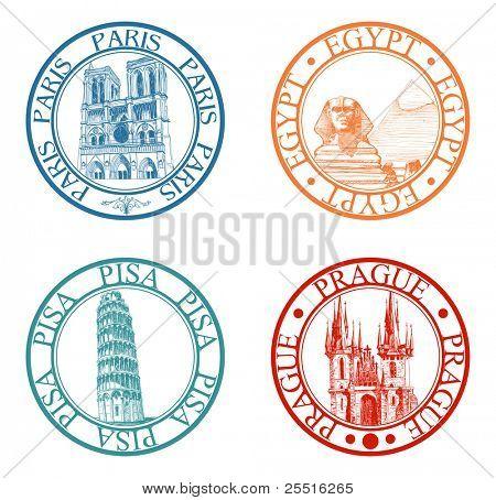 Colección de sellos de viaje detallado: Pisa, París, Praga, Egipto