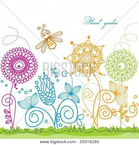 Cena de Verão vetor: abelha visitando flores