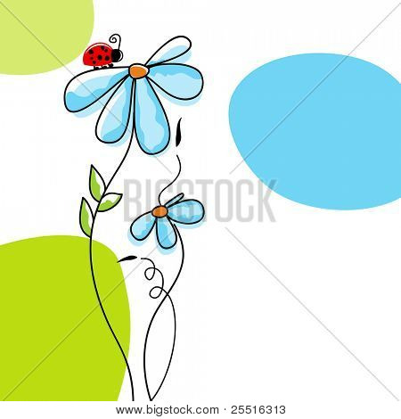 Cute nature scene: ladybug climbing on a flower