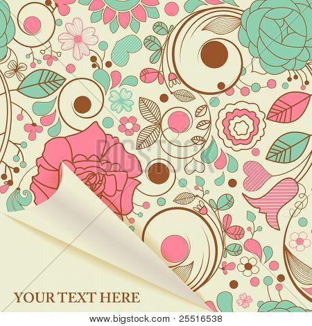 Paper page with retro floral seamless pattern, curled corner space for text