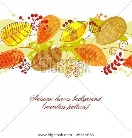 Fondo de hojas de otoño en blanco (patrón)